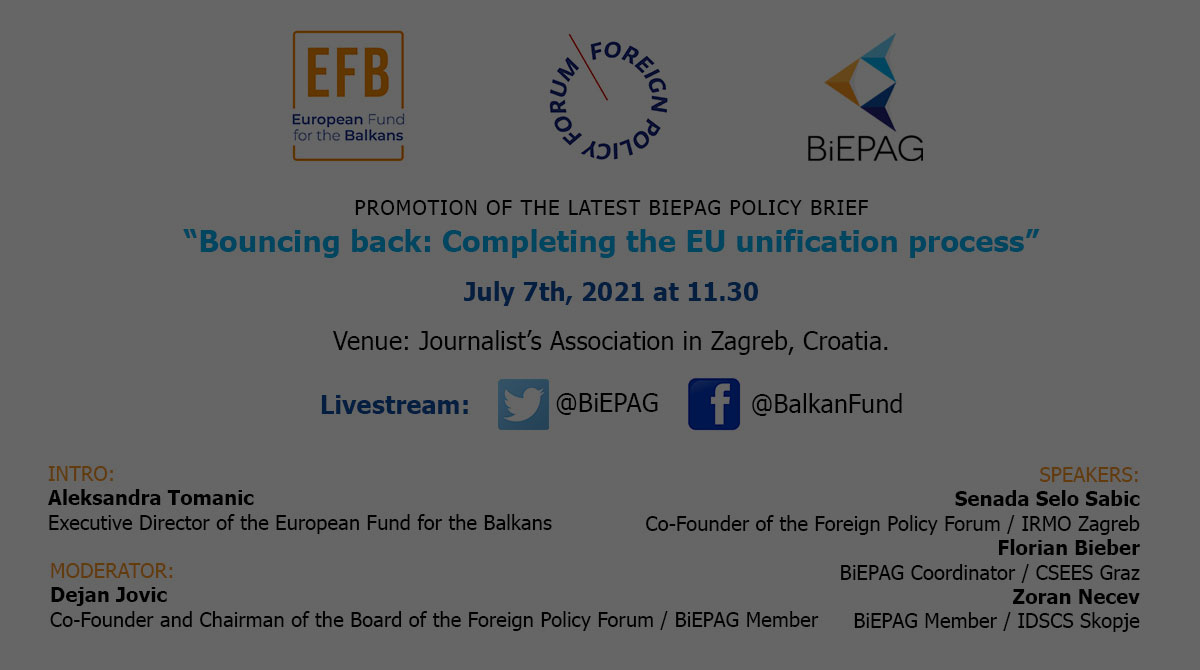 """Promotion of the latest BiEPAG policy brief """"Bouncing back: Completing the EU unification process"""""""
